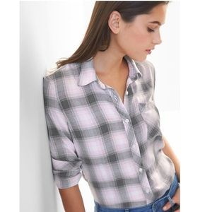 Gap Drapey Flannel Top Shirt Pink Plaid